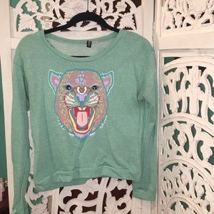 Cute mint sweatshirt with colorful tiger graphic